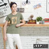 【JEEP】女裝轉印圖騰圓領短袖T恤-綠色
