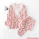 和服式家居服套裝長袖月子服睡衣女士純棉紗布春秋季夏薄款孕婦