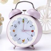 創意時尚簡約靜音帶夜燈床頭鬧鐘可愛學生家居鬧錶座鐘個性水果派   9號潮人館