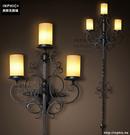 INPHIC- 美式鄉村風格臥室牆燈歐式復古走廊玻璃單頭鐵藝蠟燭台壁燈-K款_S197C
