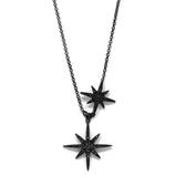 apm MONACO法國精品珠寶 閃耀黑色雙繁星可調整長項鍊 AC3351BZT