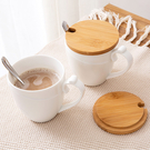 正韓 帶勺陶瓷杯大容量帶蓋咖啡杯 簡約情侶水杯馬克杯牛奶杯子