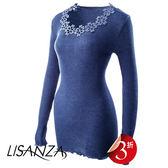 LISANZA-長袖L羊毛蠶絲內搭衣(藍)L114677