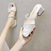 2020夏季新款韓版仙女露趾百搭網紅中跟粗跟外穿拖鞋懶人兩穿涼鞋