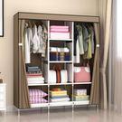 簡易布藝衣櫥簡約現代宿舍經濟型鋼架組裝防塵衣櫥收納布衣櫥鋼管igo  莉卡嚴選