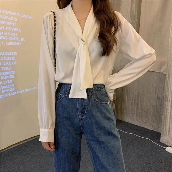 2021年早春新款白色襯衫女設計感小眾領結洋氣襯衣別致小衫上衣