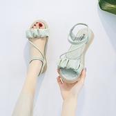仙女風涼鞋女2021年夏季新款網紅爆款平底休閑百搭配裙子的羅馬鞋 格蘭小鋪