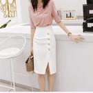 2021春夏季新款白色半身裙女Chic高腰開叉包臀裙中長款氣質一步裙 快速出貨