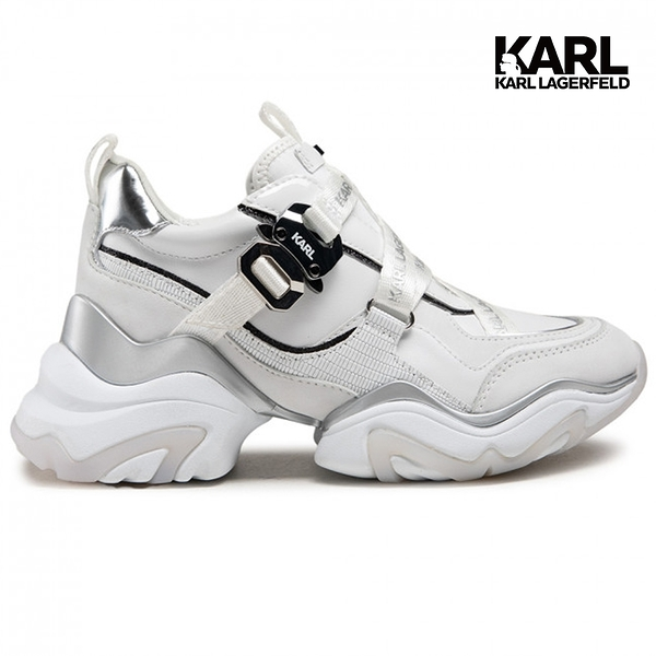 (潮爆!61折出清)【KARL LAGERFELD】GEMINI環扣織帶運動鞋-白 (原廠公司貨)