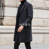 羽絨服男  冬季新款男士中長款羽絨服潮流帥氣韓版修身男裝風衣外套大衣 珍妮寶貝