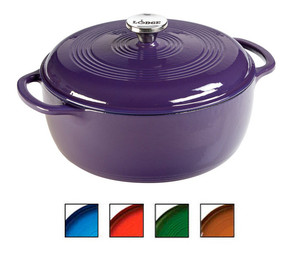 丹大戶外【LODGE】Enamel 6QT彩色琺瑯鑄鐵鍋10.5吋/鑄鐵材質/荷蘭鍋/平底煎鍋/造型模具 EC6D93 紫