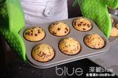烘焙模具6連麥芬盤蛋糕面包模具六連不粘烤盤 深藏blue