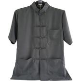 中國服裝 男唐裝 中國風上衣 男中山裝 短袖 灰色