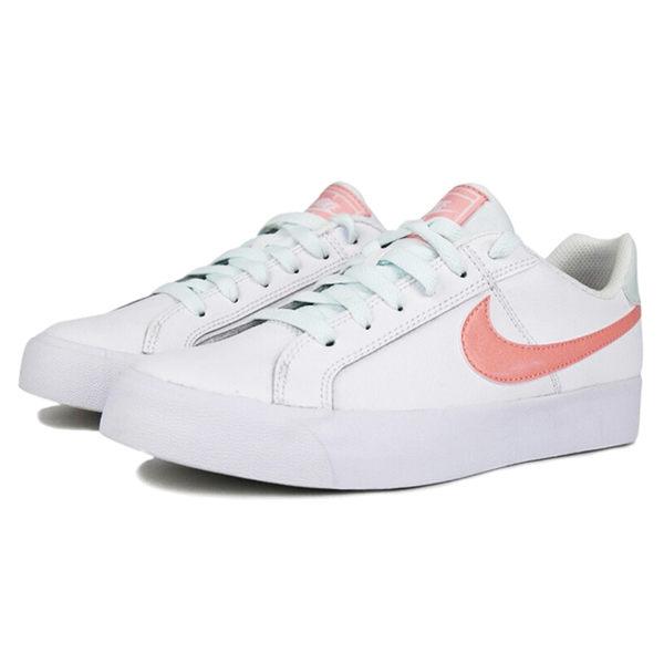 NIKE COURT ROYALE AC 女鞋 慢跑 休閒 板鞋 皮革 白 粉綠色鞋帶 【運動世界】 AO2810-107 | 休閒鞋 |