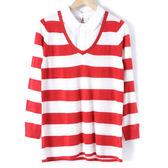 【MASTINA】假兩件條紋毛衣-紅 10411