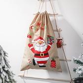 【BlueCat】聖誕節 跳舞老人 束口麻布袋 包裝袋 禮物袋 束口袋 聖誕 耶誕