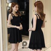 細肩帶洋裝/新款夏季復古無袖吊帶顯瘦高腰氣質優雅連身裙短款小黑裙女「歐洲站」