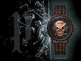 【時間道】POLICE搖滾龐克玫瑰骷髏腕錶套組 / 古銅金鋼帶+皮手環(15530SKQBZ-SET2)免運費