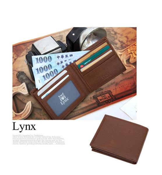 Lynx - 經典80復古風真皮系列5卡1照左右翻短夾-沉穩藍
