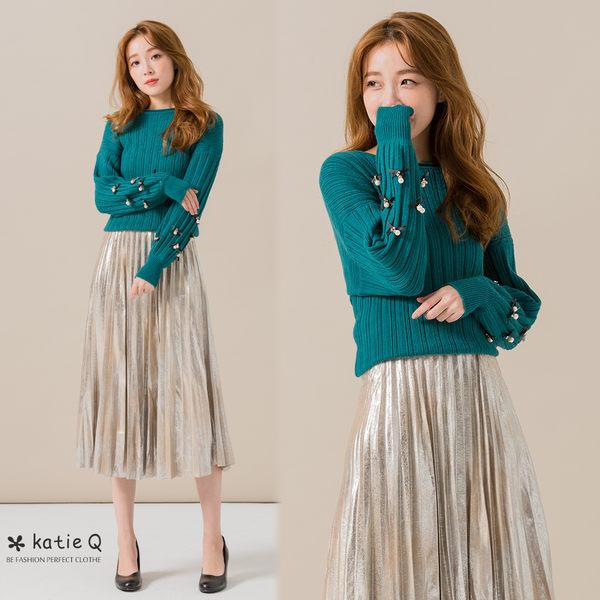 典雅繡珠針織上衣(綠色)-F【KatieQ】