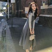洋裝禮服法國小眾法式復古收腰維多利亞很仙長裙女秋冬季兩件套裝連衣裙女-大小姐韓風館