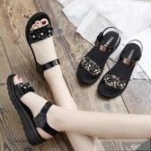 中年女士夏季平底女鞋中老年舒適百搭厚底中跟2019新款媽媽鞋涼鞋 韓慕精品