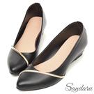 楔型鞋 斜金線皮革尖頭鞋-黑