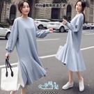 優雅純色澎澎袖魚尾裙擺孕婦洋裝 藍【CRH321107】孕味十足 孕婦裝