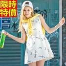 洋裝無袖時尚休閒-字母印花牛仔圓領連身裙女裝韓洋裝2色67m2【巴黎精品】