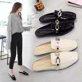 女鞋2019新款百搭春季懶人平底包頭半拖鞋女一腳蹬外穿時尚穆勒鞋