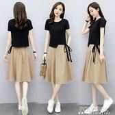 棉麻連身裙女裝2021夏季新款遮肚顯瘦修身氣質套裝裙小個子兩件套 秋季新品