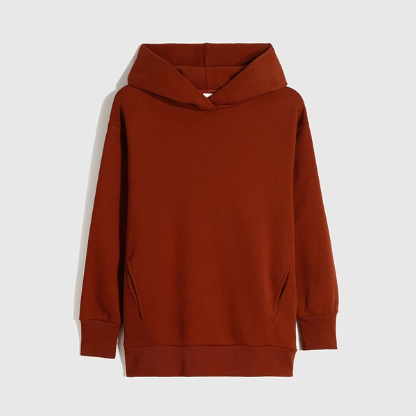Gap女裝 碳素軟磨系列 休閒刷毛連帽休閒上衣 655692-紅銅色