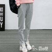 顯瘦直筒運動褲女寬鬆褲子休閒褲長褲純色跑步褲衛褲  潔思米