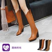 韓系早春單品百搭素面尖頭方跟長靴/3色/35-43碼 (RX1322-D5025) iRurus 路絲時尚