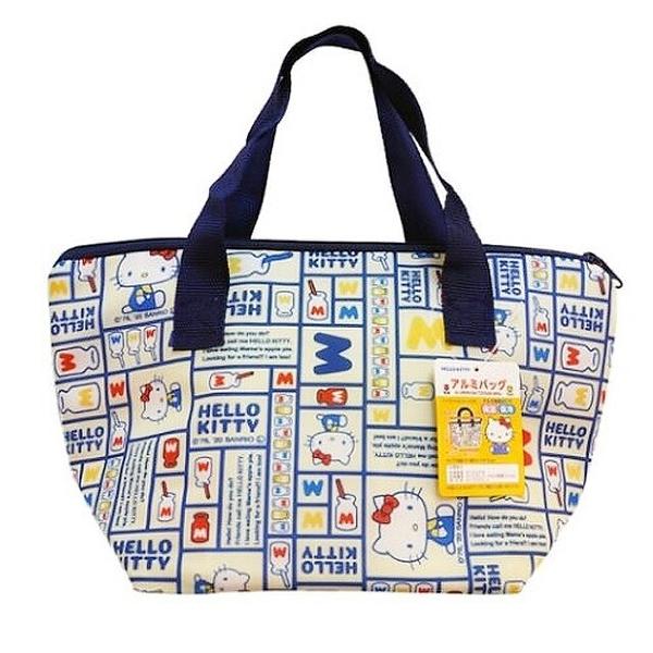 小禮堂 Hello Kitty 船形尼龍保冷便當袋 保冷提袋 保溫袋 午餐袋 銅板小物 (藍 格圖) 4573135-58983
