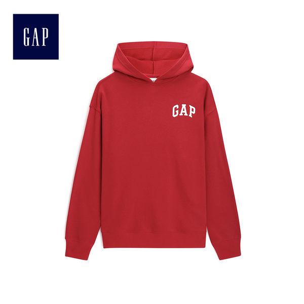 Gap男裝 Logo長袖休閒上衣 512141-朱紅