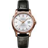 Hamilton 漢米爾頓 Viewmatic 紳士大三針機械腕錶-玫瑰金框x咖啡/40mm H32645555