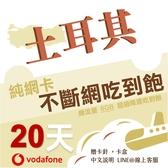 土耳其網卡 Vodafone 20天高速上網不斷網 多天數可選/多流量可選/土耳其網卡/土耳其旅遊