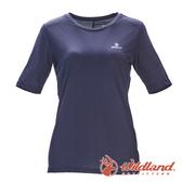 【wildland 荒野】女 彈性排汗圓領上衣『灰藍』0A71667 T恤 上衣 休閒 戶外 登山 抗紫外線 吸濕 排汗