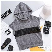 Catworld 拼接性感網眼連袖運動帽T【11406488】‧S/M/L