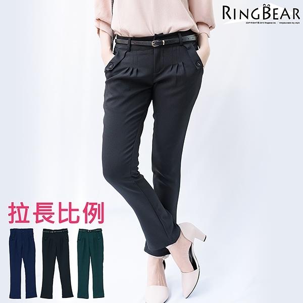 中大尺碼--高雅英倫風格前袋蓋雙口袋附腰帶打摺休閒老爺褲(黑.藍.綠XL-5L)-P121眼圈熊中大尺碼