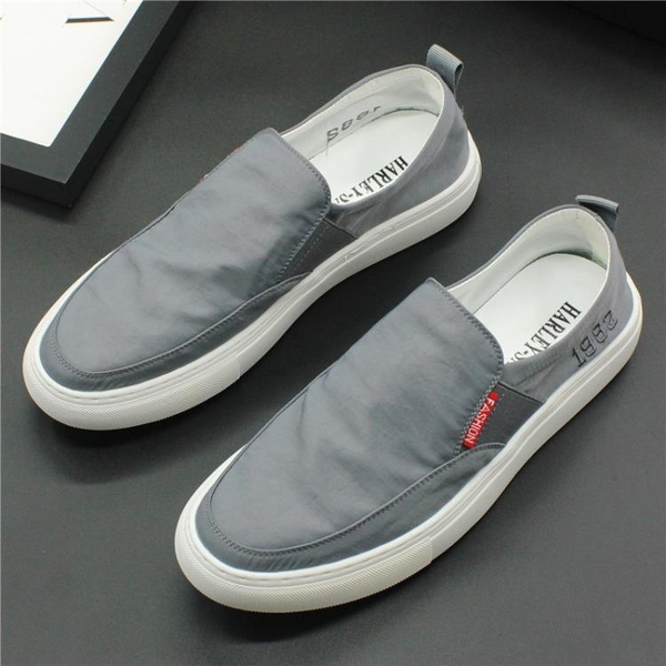 懶人鞋 一腳蹬樂福鞋低幫帆布鞋男士時尚百搭保暖棉鞋休閒冬季厚底板鞋潮-樂購