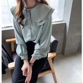 M-4XL長袖襯衫開衫上衣荷葉邊雪紡襯衣女心機上衣娃娃領設計感小眾襯衫8516E35朵維思