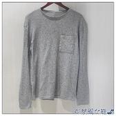 長袖T恤 hm8mz 瑞典單 混灰色薄款春秋款長袖圓領口袋T恤男裝打底針織衫 快速出貨