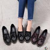 英倫風女鞋秋新粗跟厚布洛克款式繫帶圓頭學院中跟小皮單鞋 魔方數碼館