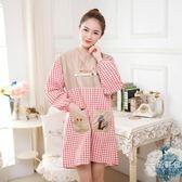 居家家長袖可愛圍裙廚房做飯圍腰韓版時尚簡約成人女帶袖防油罩衣 萬聖節