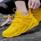 運動鞋男秋季男鞋韓版潮流運動鞋男休閒跑步學生鞋飛織板鞋子男透氣網面鞋 快速出貨