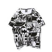 韓版男短T 韓版短袖上衣 夏季漫畫塗鴉印花圓領半袖短袖潮流大碼T恤休閒 wx3579