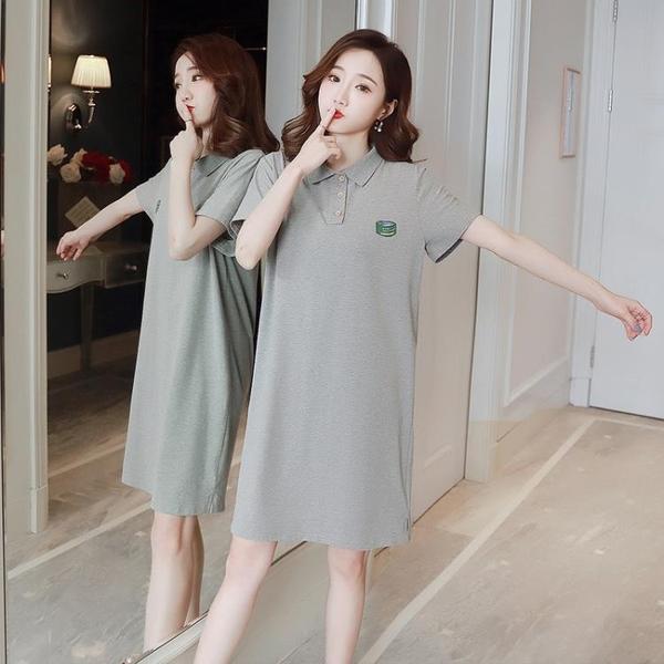 POLO領洋裝 POLO領T恤女短袖2020夏季新款寬松大碼中長款洋裝學院風上衣潮 果果生活館