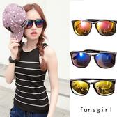 抗UV400-炫麗反光鍍膜細框防紫外線韓版墨鏡-3色~funsgirl芳子時尚